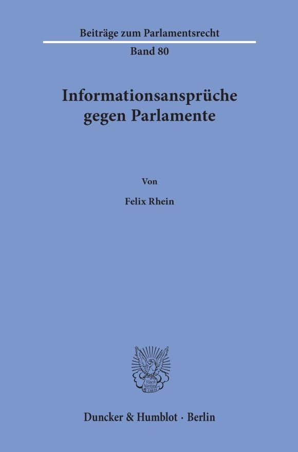 Cover Informationsansprüche gegen Parlamente