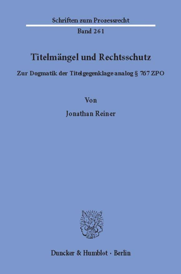 Cover Titelmängel und Rechtsschutz