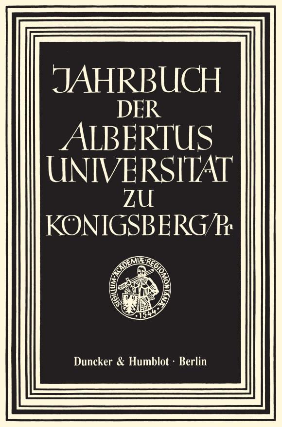 Cover Jahrbuch der Albertus-Universität zu Königsberg/Pr