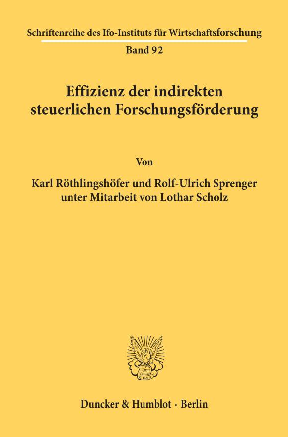 Cover Effizienz der indirekten steuerlichen Forschungsförderung