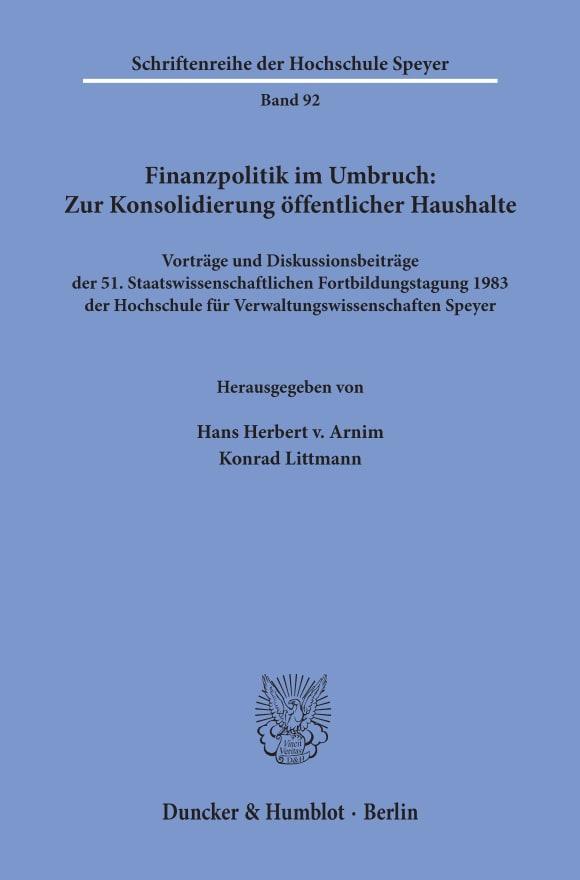 Cover Finanzpolitik im Umbruch: Zur Konsolidierung öffentlicher Haushalte