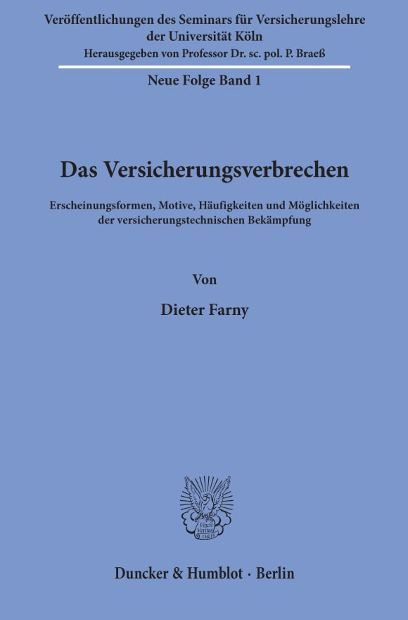Cover Veröffentlichungen des Seminars für Versicherungslehre der Universität Köln. Neue Folge (SVL)