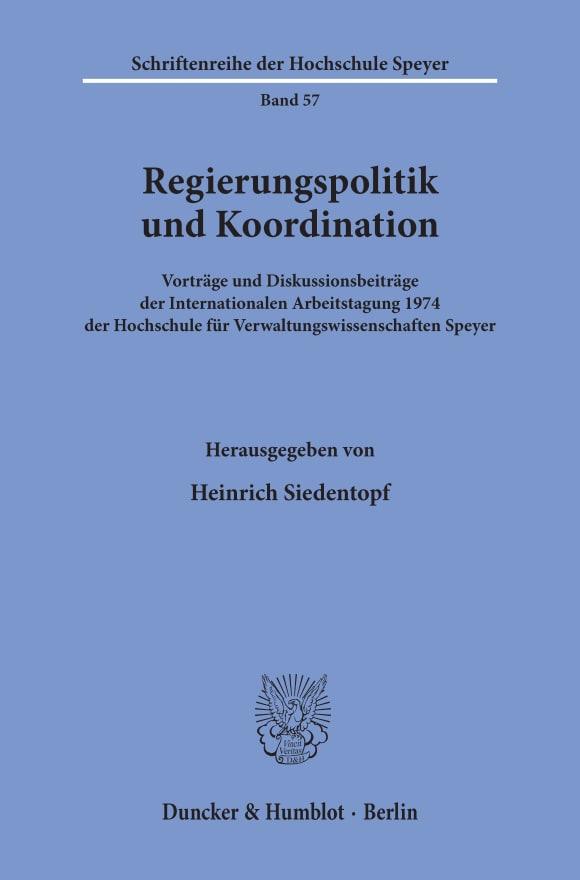 Cover Regierungspolitik und Koordination