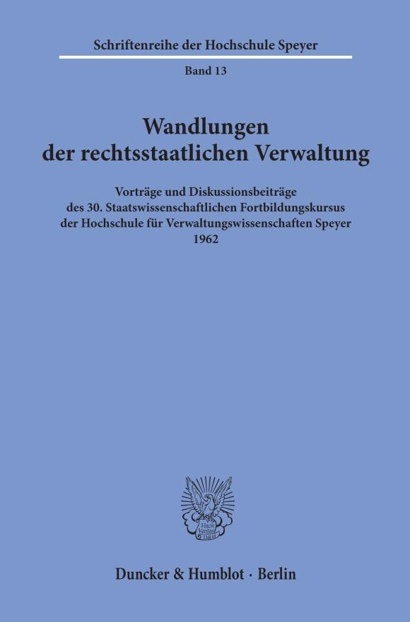 Cover Wandlungen der rechtsstaatlichen Verwaltung