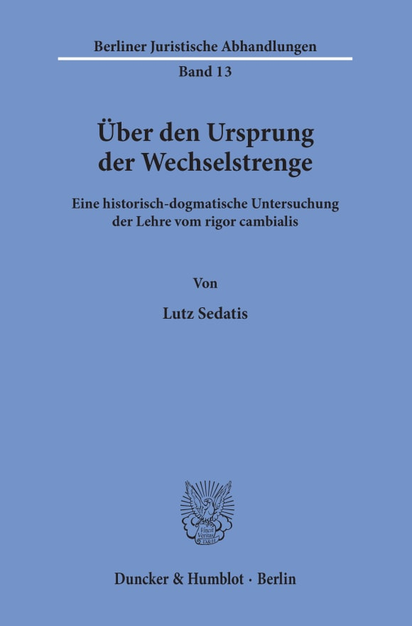 Cover Berliner Juristische Abhandlungen (BJA)