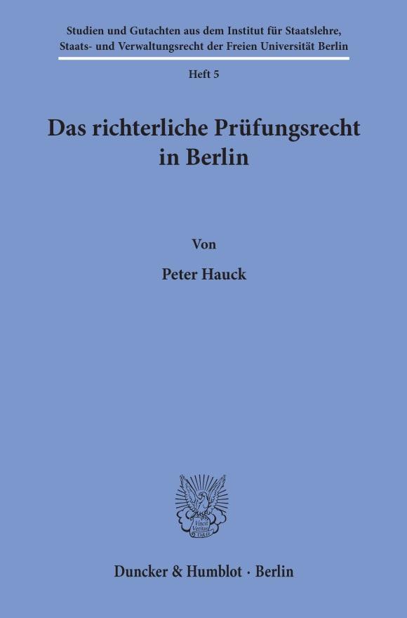 Cover Das richterliche Prüfungsrecht in Berlin