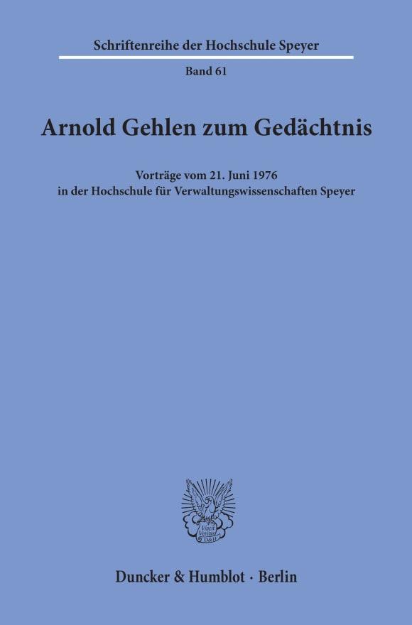 Cover Arnold Gehlen zum Gedächtnis