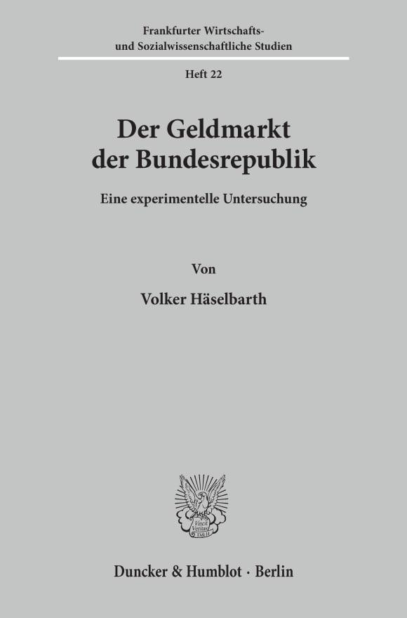 Cover Der Geldmarkt der Bundesrepublik