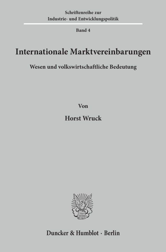 Cover Internationale Marktvereinbarungen