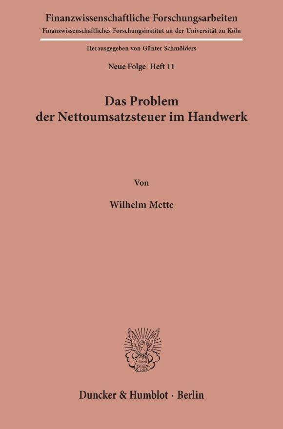 Cover Das Problem der Nettoumsatzsteuer im Handwerk
