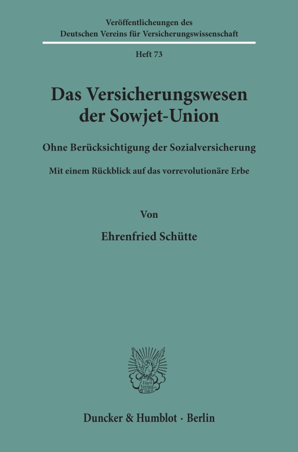 Cover Das Versicherungswesen der Sowjet-Union