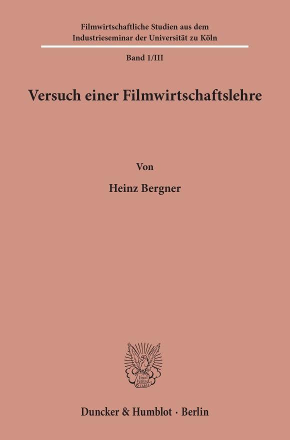 Cover Filmwirtschaftliche Studien aus dem Industrieseminar der Universität zu Köln (FSI)
