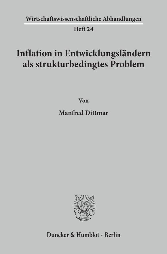 Cover Inflation in Entwicklungsländern als strukturbedingtes Problem