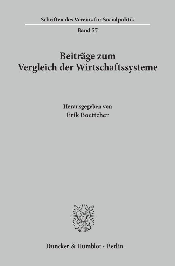 Cover Beiträge zum Vergleich der Wirtschaftssysteme