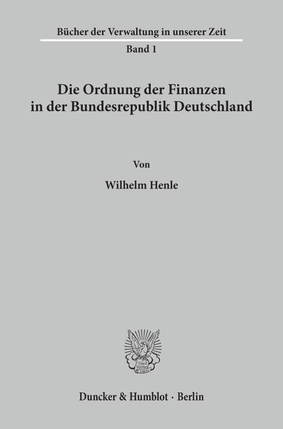 Cover Die Ordnung der Finanzen in der Bundesrepublik Deutschland