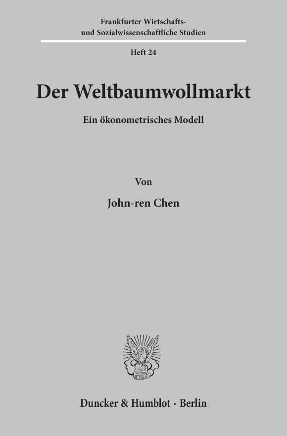 Cover Der Weltbaumwollmarkt