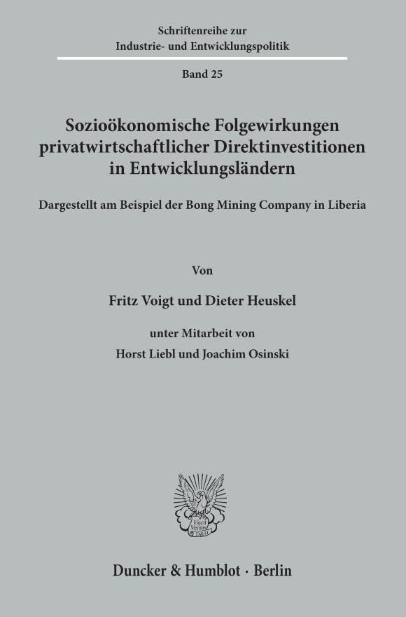 Cover Sozioökonomische Folgewirkungen privatwirtschaftlicher Direktinvestitionen in Entwicklungsländern