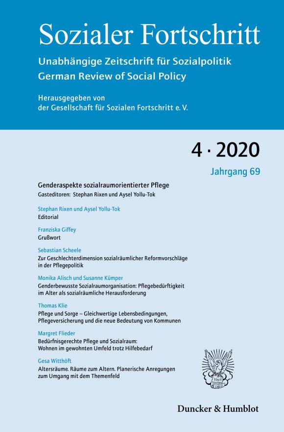 Cover Zur Geschlechterdimension sozialräumlicher Reformvorschläge in der Pflegepolitik (SF 4/2020)