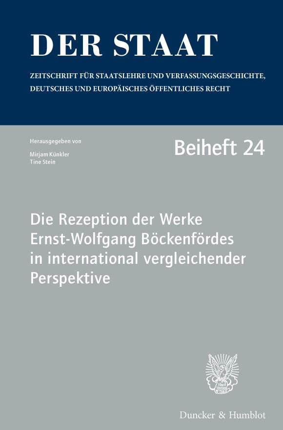 Cover Die Rezeption der Werke Ernst-Wolfgang Böckenfördes in international vergleichender Perspektive