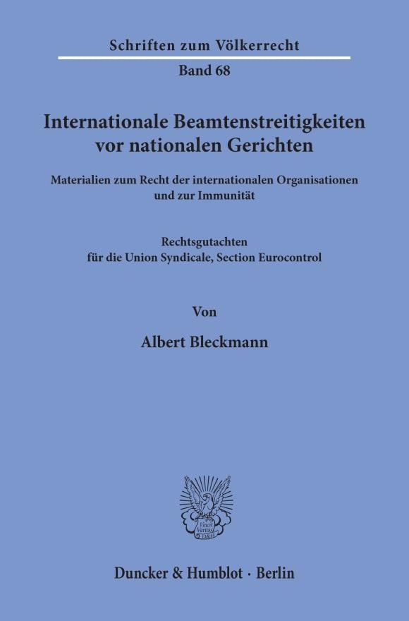 Cover Internationale Beamtenstreitigkeiten vor nationalen Gerichten
