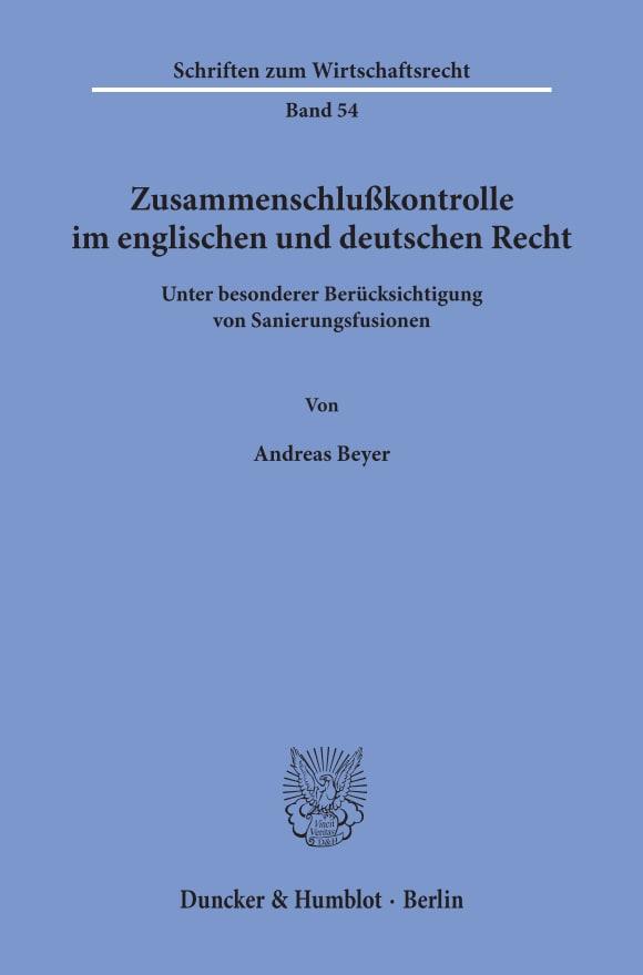 Cover Zusammenschlußkontrolle im englischen und deutschen Recht