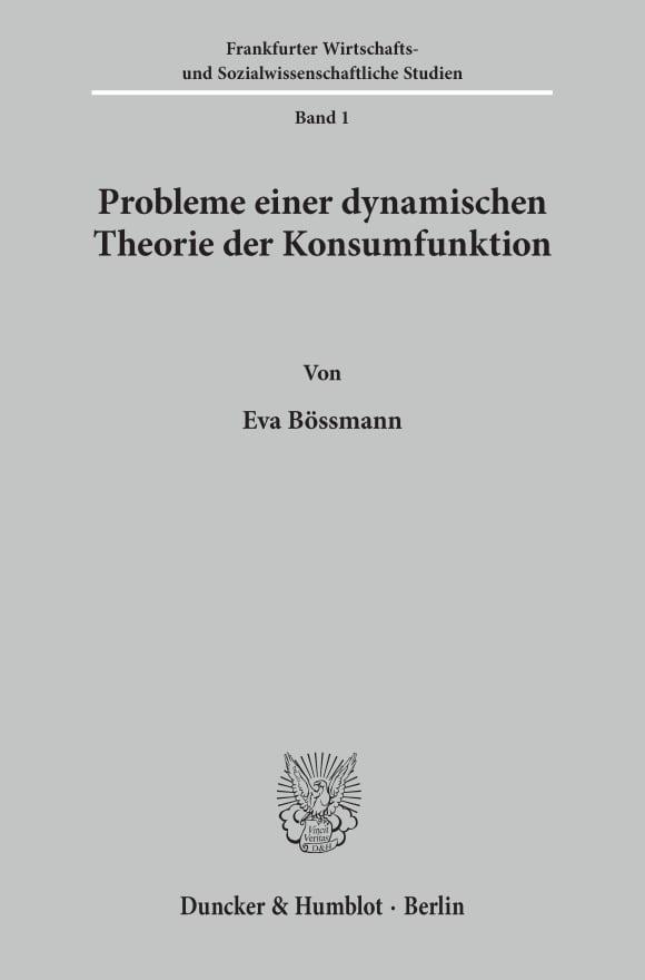 Cover Probleme einer dynamischen Theorie der Konsumfunktion