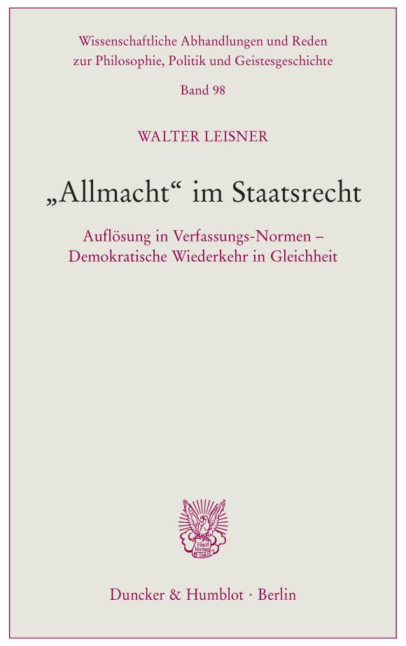 Cover »Allmacht« im Staatsrecht