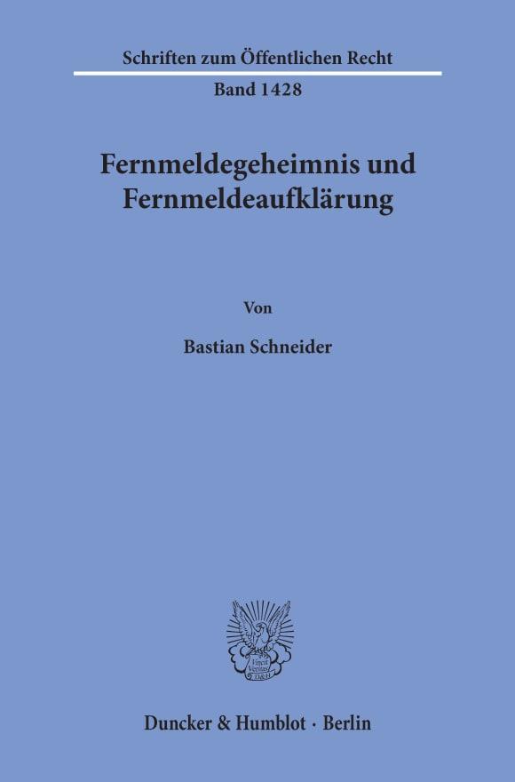 Cover Fernmeldegeheimnis und Fernmeldeaufklärung