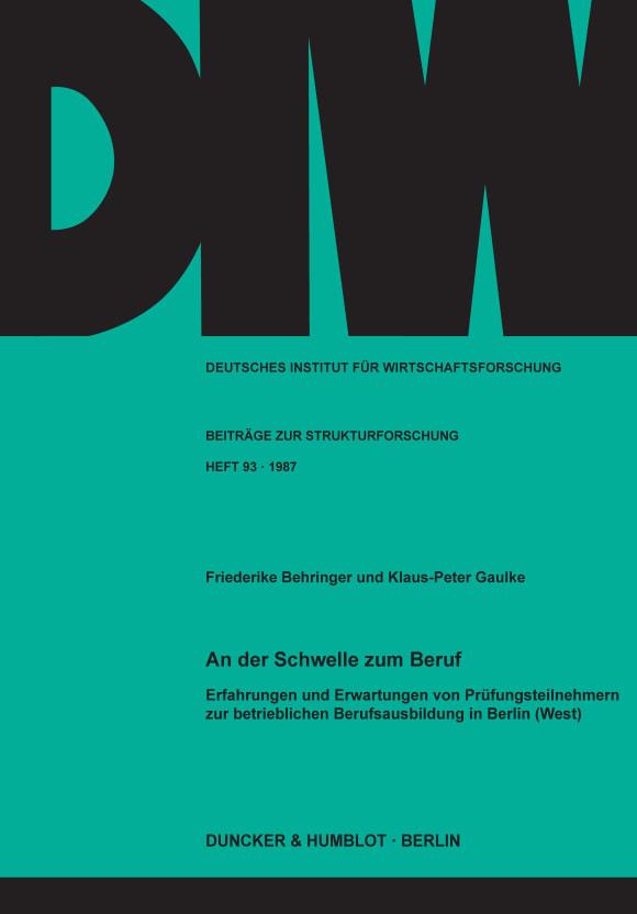 Cover An der Schwelle zum Beruf