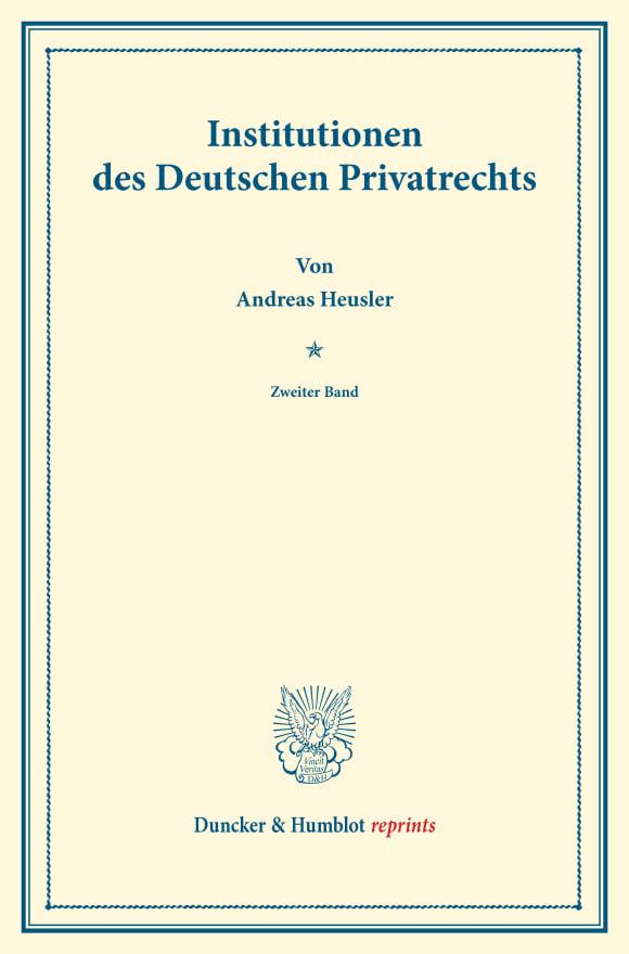 Cover Institutionen des Deutschen Privatrechts