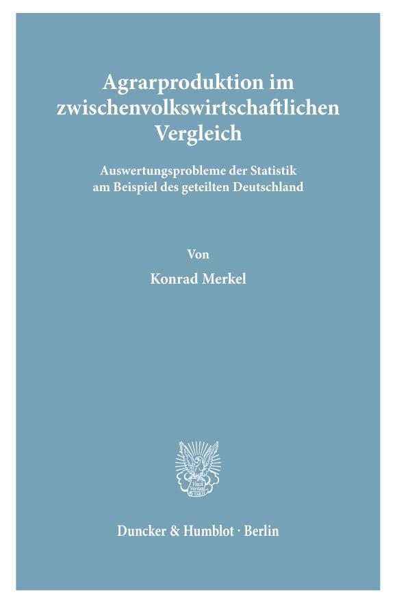 Cover Agrarproduktion im zwischenvolkswirtschaftlichen Vergleich