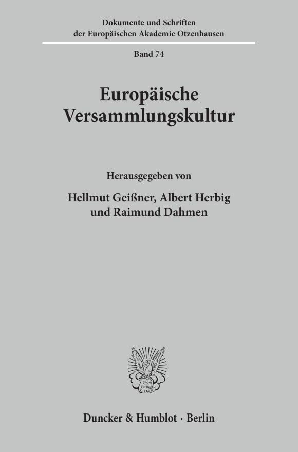 Cover Europäische Versammlungskultur