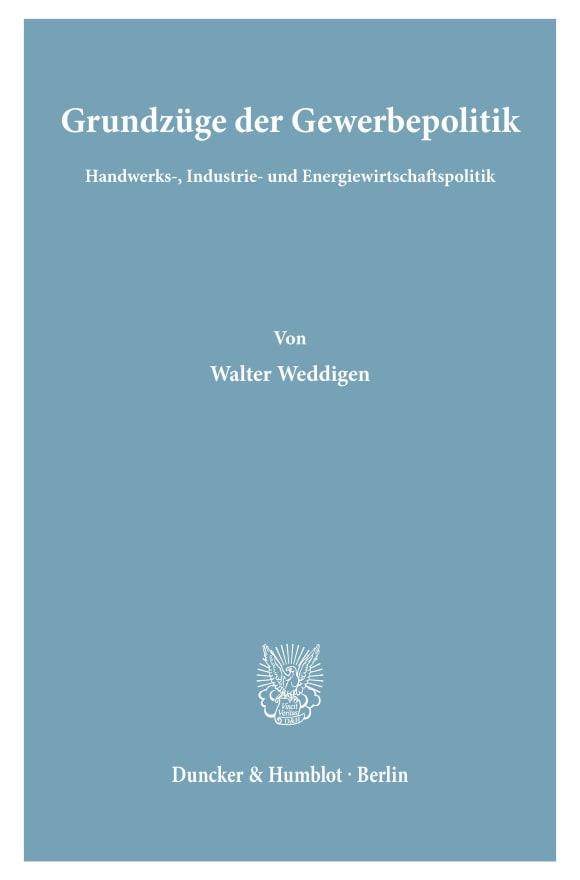 Cover Grundzüge der Gewerbepolitik