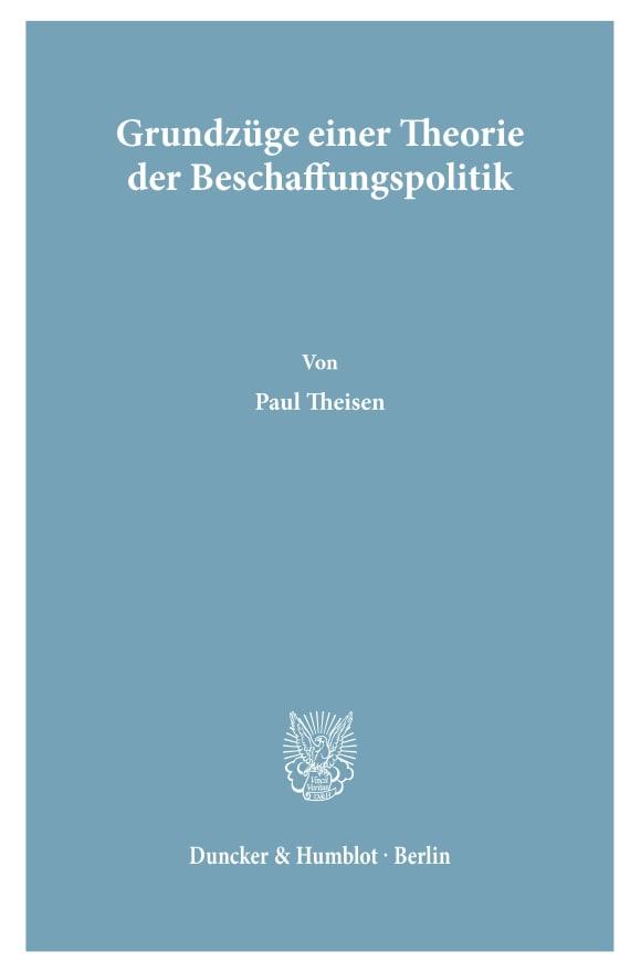 Cover Grundzüge einer Theorie der Beschaffungspolitik