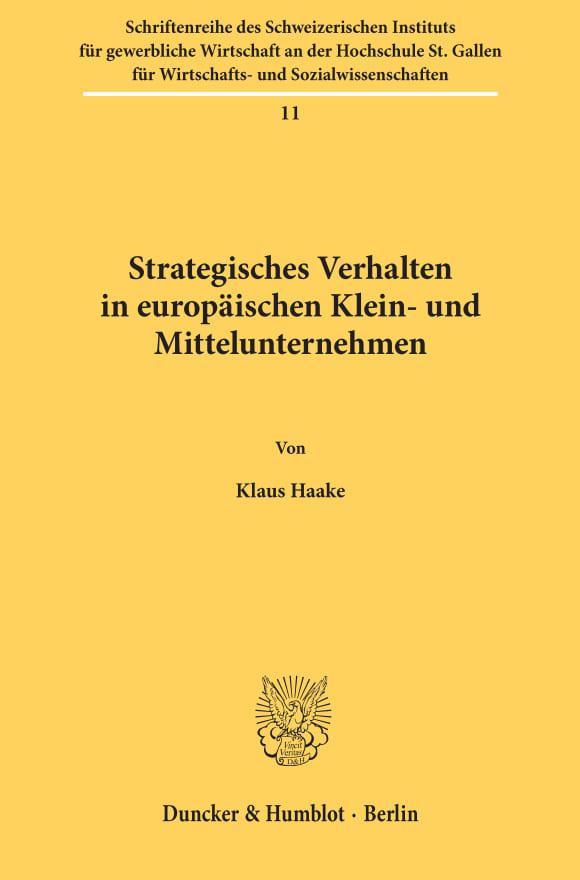 Cover Strategisches Verhalten in europäischen Klein- und Mittelunternehmen
