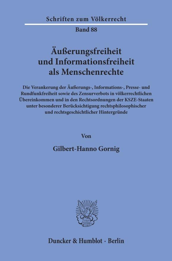 Cover Äußerungsfreiheit und Informationsfreiheit als Menschenrechte