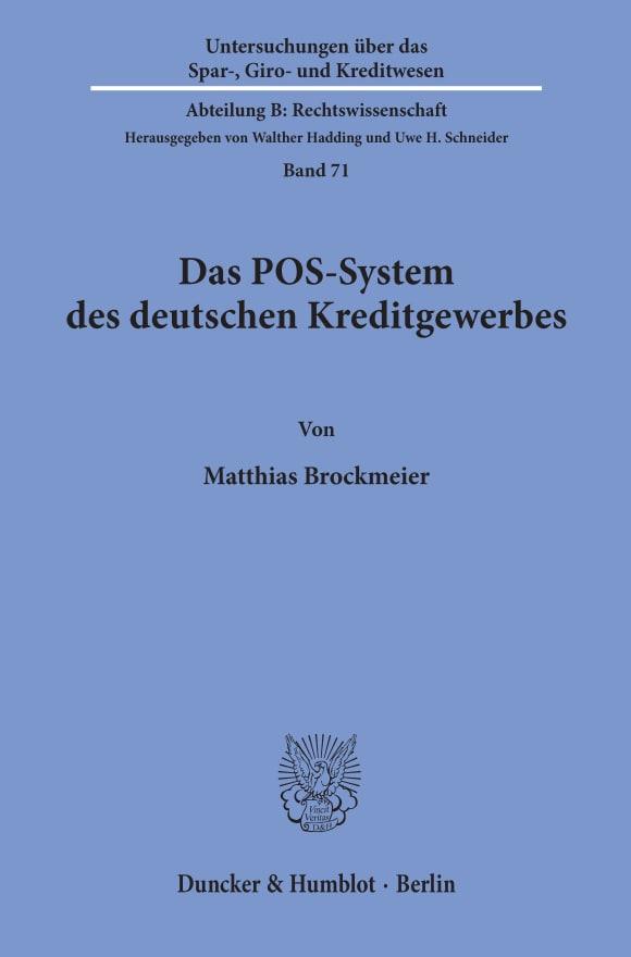 Cover Das POS-System des deutschen Kreditgewerbes