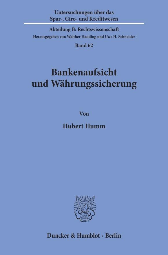 Cover Bankenaufsicht und Währungssicherung