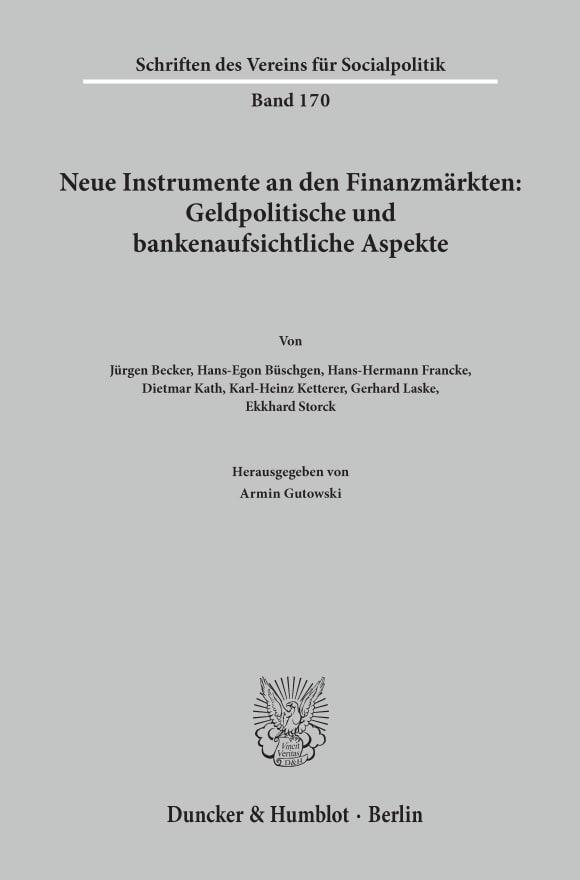Cover Neue Instrumente an den Finanzmärkten