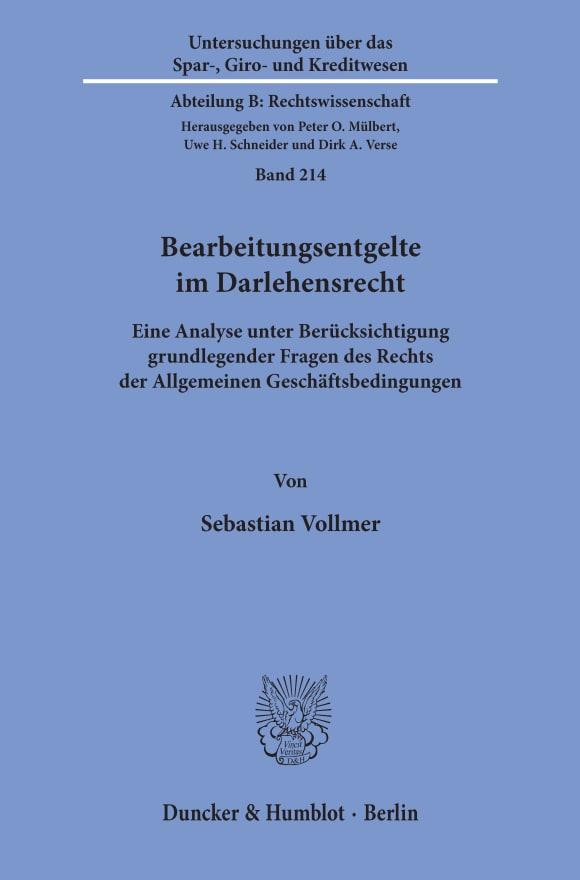 Cover Bearbeitungsentgelte im Darlehensrecht