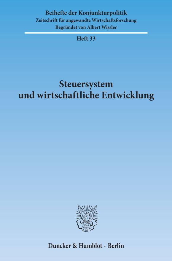 Cover Steuersystem und wirtschaftliche Entwicklung