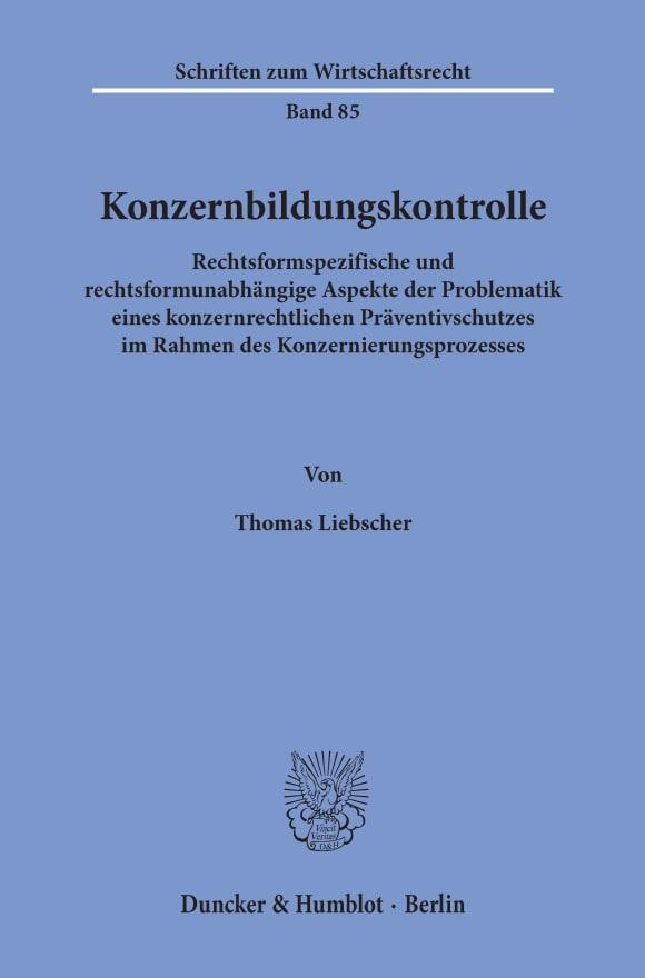 Cover Konzernbildungskontrolle