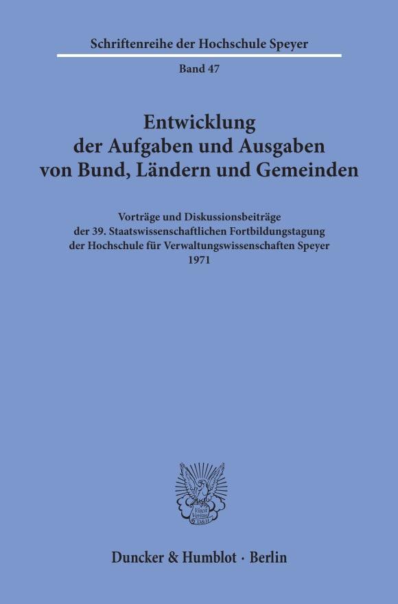 Cover Entwicklung der Aufgaben und Ausgaben von Bund, Ländern und Gemeinden