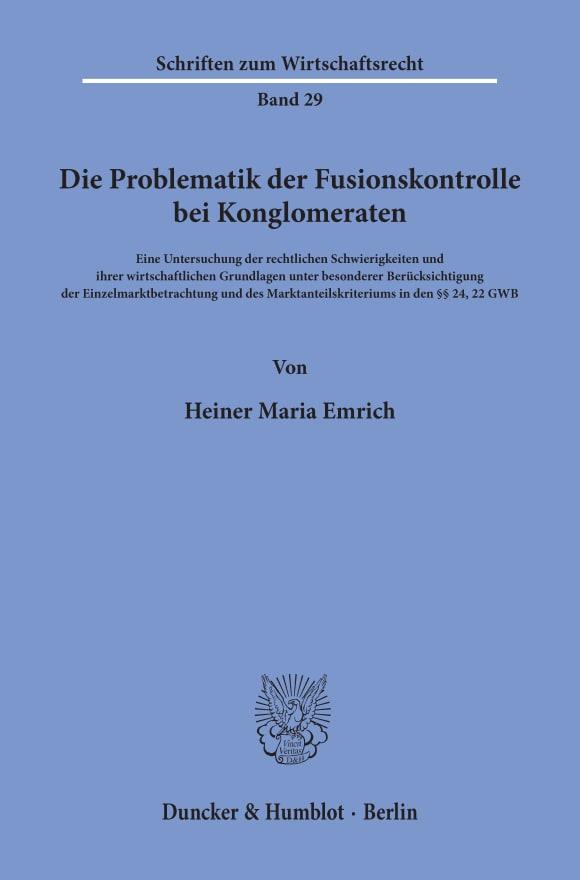 Cover Die Problematik der Fusionskontrolle bei Konglomeraten