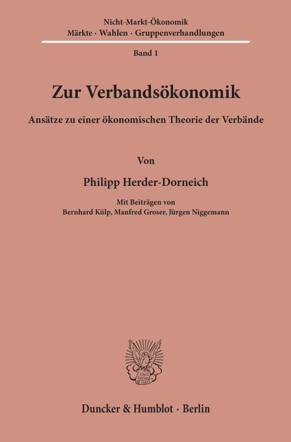 Cover Zur Verbandsökonomik