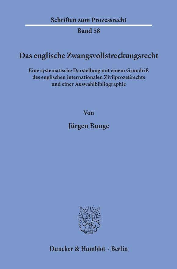 Cover Das englische Zwangsvollstreckungsrecht