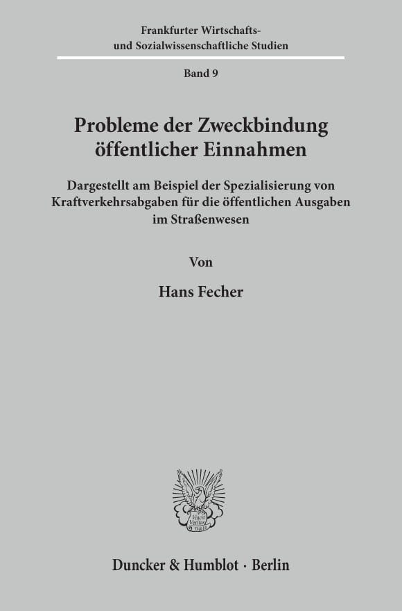 Cover Probleme der Zweckbindung öffentlicher Einnahmen
