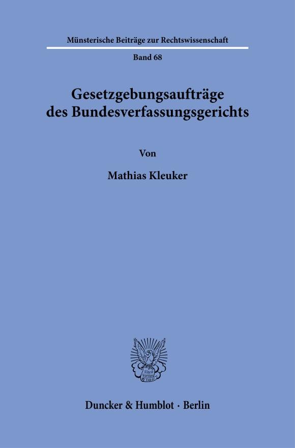 Cover Gesetzgebungsaufträge des Bundesverfassungsgerichts