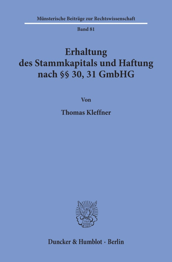 Cover Erhaltung des Stammkapitals und Haftung nach §§ 30, 31 GmbHG