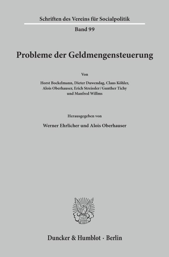 Cover Probleme der Geldmengensteuerung